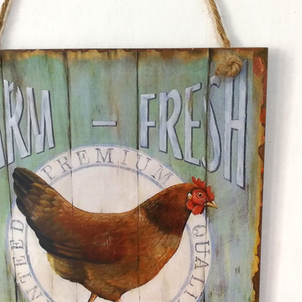 Вывеска деревянная Ретро петух фермы свежие яйца письмо доска Настенный декор висит кулон для фермы ранчо планка украшения