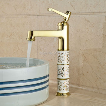 """Free shipping 13"""" Countertop Basin Faucet brass gold color bathroom faucet ceramic body single crystal handle water tap ZR471"""