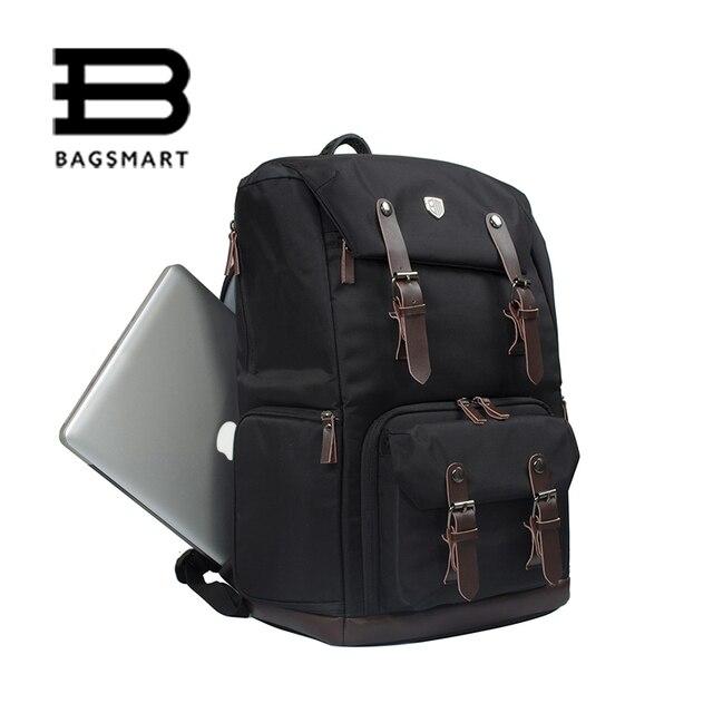 BAGSMART Men's Backpack Canvas&Leather BackpackWaterproof Camera Bag NATIONAL GEOGRAPHIC NG5070 Camera Backpack Black Travel Bag