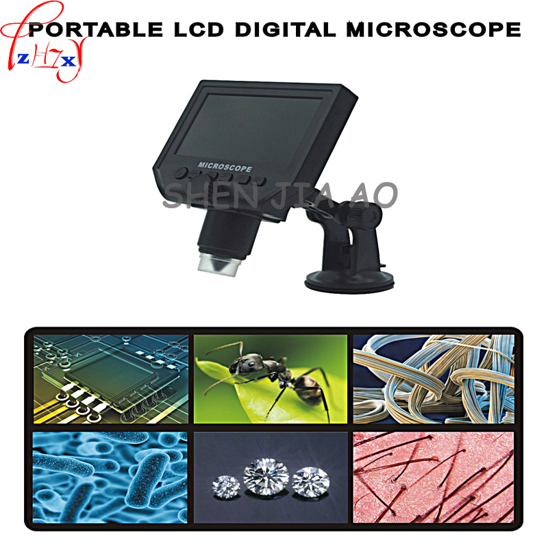 10 pcs/lot 110-220V Digital Microscope HD 600x with 4.3-inch display Industrial Microscope Electron Microscope with 8 LED lights 600x portable 4 3inch hd oled display lcd digital video microscope magnifying glass with 8 led light
