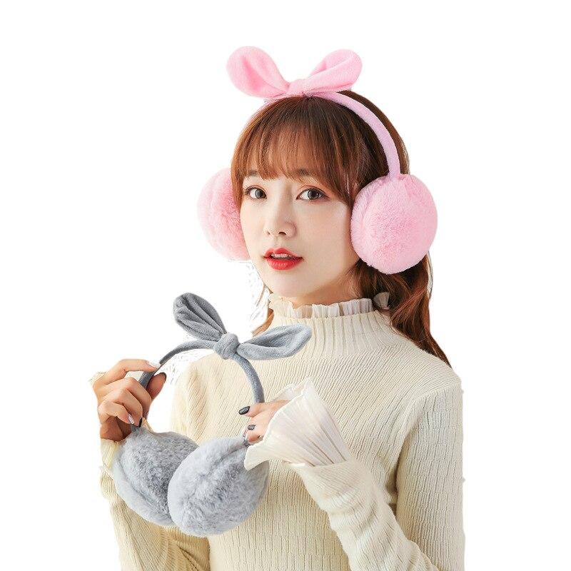 New Bow Earmuffs Women Imitation Rabbit Fur Winter Earmuffs Warm Female Cotton Ear Warmers Christmas Gifts Fur Earmuffs PS-06