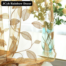Embroidered Tulle Curtains for Living Room Bedroom Modern Leaf Sheer Curtains for Window Treatments Voile Cortinas Fabric Drapes цена и фото