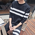 2017 Brand Clothing Men's Tracksuits Jackets Sportswear Mens Striped Hoodies & Sweatshirts Sweat Suit(jacket +pants)  size M-5XL
