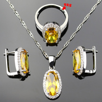 Yellow Jewelry Sets For Women 1 5 0 5mm Stone 925 Logo Silver Color Necklace Earrings