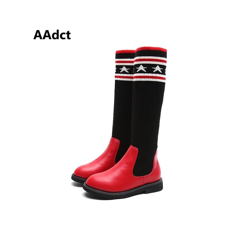 все цены на AAdct knitting new girls high boots fashion autumn princess kids boots for girls Brand High-quality Elastic cloth children boot онлайн