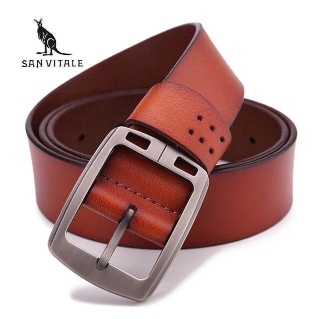 100% peau de vache véritable ceintures en cuir pour hommes marque mâle  boucle ardillon jeans 772674e93c1