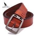 100% piel de vaca cinturones de cuero genuino para los hombres de la marca masculina pin hebilla de los pantalones vaqueros de vaquero Para Hombre Cinturones de Cuero de Lujo de Diseño de Alta Calidad