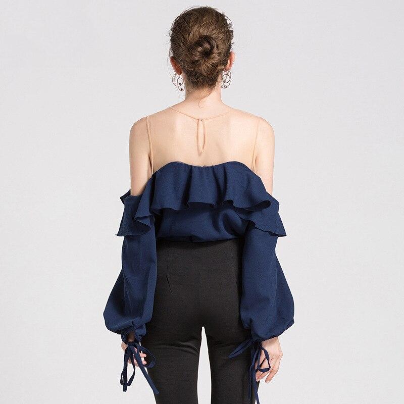 2019 Été blouse en mousseline de soie Femmes Maille Patchwork blouse à volants Chemise Blanc Lanterne Manches Solide Femmes hauts et chemisiers Sexy - 3
