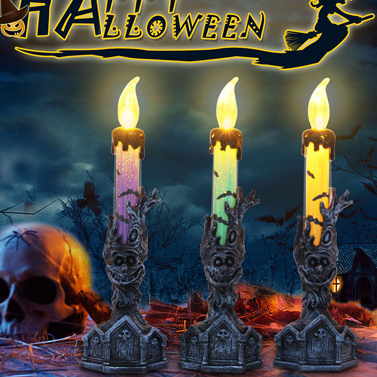 Electronic Halloween Decorations: Halloween Decoration LED Candle Lamp Skull Skeletal