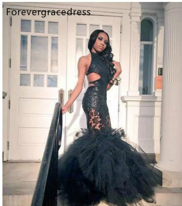 REAL IMAGE 100% Black Girls Mermaid Prom Dresses 2017 Sheer Lace Applique Sexy Backless Ruffles Skirt Formal Dresses Evening Gowns 152 (1)