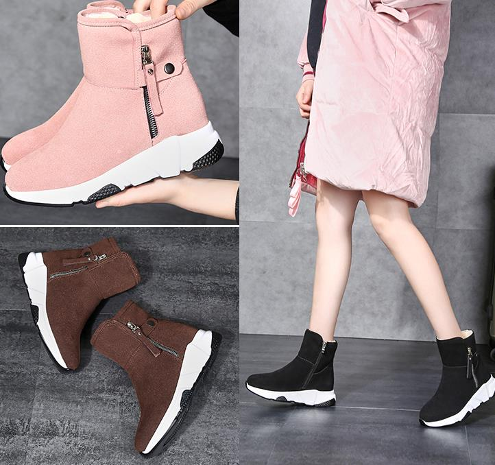 New Fashion Women Boots Snow Boots Sneakers Plush High Top Velvet Cotton Shoes Warm Lace-up Non-slip boots 55