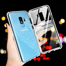 Magnetic Adsorption Flip Case for Samsung Galaxy S8 S9 Plus S7 High Quality Tempered Glass Back Cover Luxury Metal Bumpers Case(China)