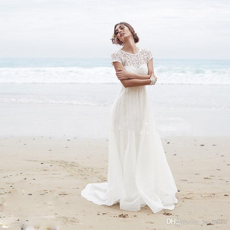 2017 Beach Wedding Dresses Short Sleeve Long Lace Simple Boho ...