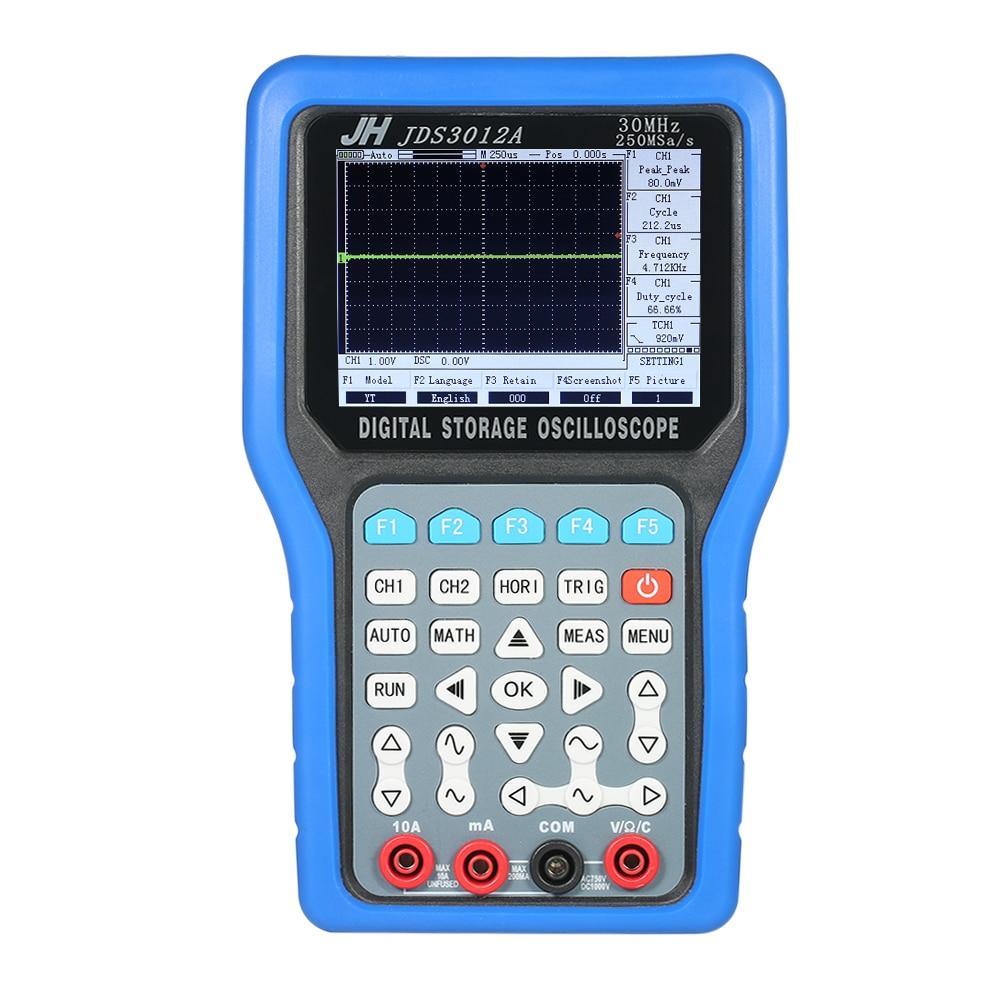 Handheld Digital Oscilloscope 2 Channels Storage usb oscilloscope logic analyzer 30MHz 250MSa s Multimeter Signal Generator