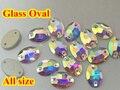 Forma Oval Crystal Clear AB sew na pedra 2holes botões de vidro de cristal base de Prata. 7x10,10x14,11x16,13x18,17x24mm