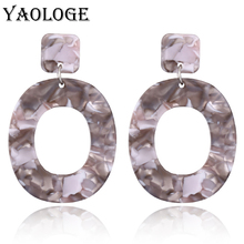 YAOLOGE Acetic Acid Clear Acrylic Earrings Unique Personality Oval Hollow Bohemian Style For Women Dangler Fashion Jewelry NEW