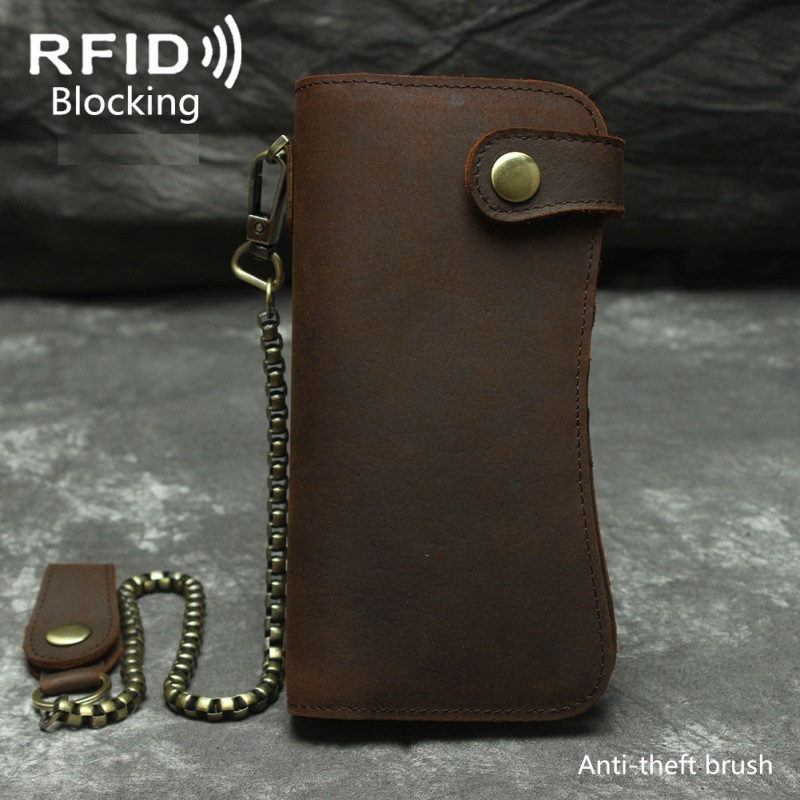 Vintage RFID Blocking Crazy Horse Genuine Leather Men Wallets Male Purses Handmade Long Style Clutch Bag Coin Purse Money Bag цена
