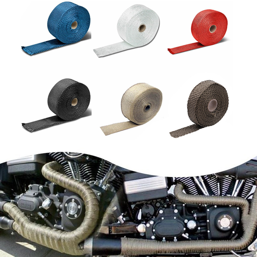 US $2 68 33% OFF|Motorcycle modified insulation tape New 2 5CM 5M Roll  Fiberglass Exhaust Header Pipe Heat Wrap Tape + 4 Ties Kit Hot m10-in  Covers &