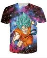 Super Saiyan deus Goku cabelo azul t-shirt de impressão 3D Dragon Ball Super Manga T ocasional do verão Saiyan além deus curta Homme Tops