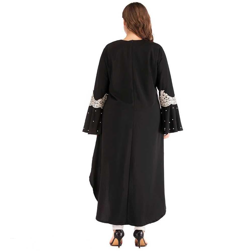 Мусульманский, арабский Модные женские элегантные миди 6xl плюс размер нерегулярные черные блузки с жемчугом для мусульманских женщин