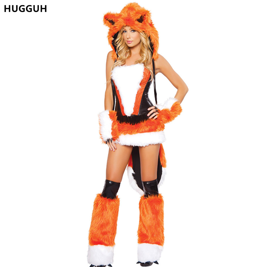 female clothing sexy women dress animal costume halloween cosplay costume fur fire fox clothing off shoulder - Halloween Costume Fire