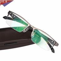 JIE. B Titanium legering Intelligentie Progressieve Multifocale Commerciële Leesbril Bifocale Presbyopie Bril gafas de lectura