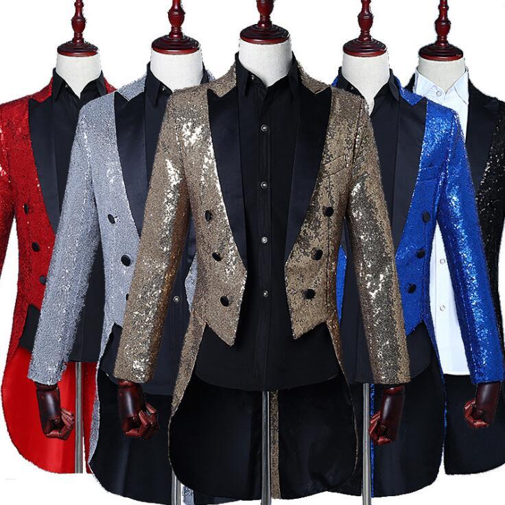 2019 Nouvelle grande taille Mens Classique 5 Couleur Sequin Robe veste Revers Queue Manteau Smoking De Mariage Marié Stade Chanteur Hommes costume de blazers