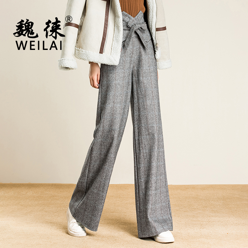 Women Wool Plaid   Pants   Worsted High Waist   Wide     Leg     Pants   Casual Gray   Pants   With Sashes Stretch Palazzo Loose Trousers 2018 New