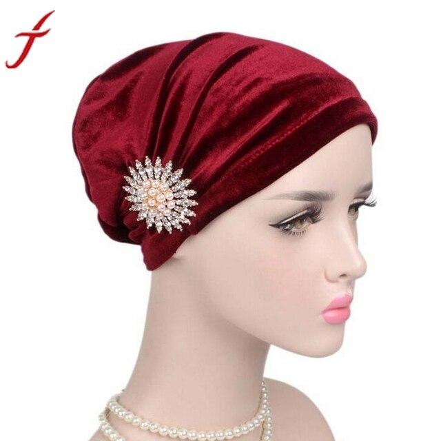 b1ee6a0ec113 Femmes Cancer Chimio Chapeaux Pour Femmes avec cancer Beanie Turban Head  Wrap Cap Velours Chapeaux Bandana