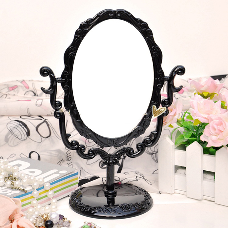 Desktop Rotatable Gothic Small Size Rose Makeup Stand Mirror Black Butterfly