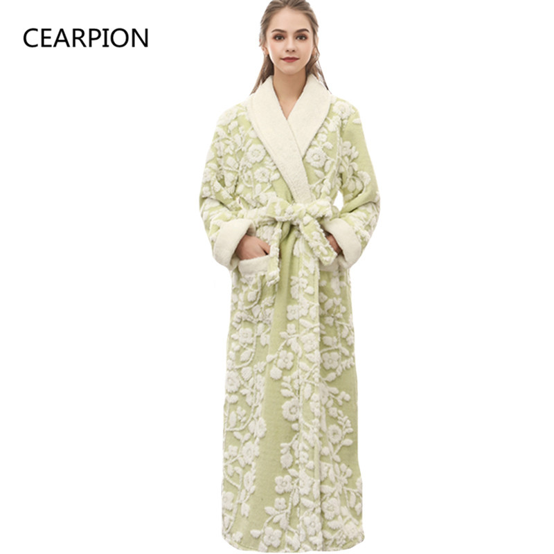 CEARPION Women Winter Bathrobe Thick Warm Kimono Bathrobe Nightgown Femme Sleepwar Ankle-Length Night Wear Plus Size 3XL