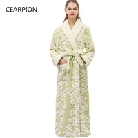 CEARPION Women Winter Bathrobe Thick Warm Kimono Bathrobe Nightgown Femme Sleepwar Ankle Length Night Wear Plus Size 3XL
