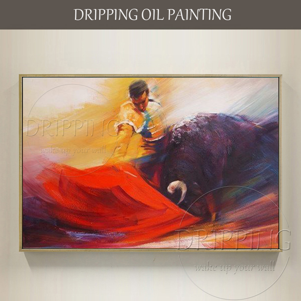 Hand-painted High Quality Modern Wall Art Spanish Matador Oil Painting Bullfight Picture Handmade Matador Bullfight Oil Painting