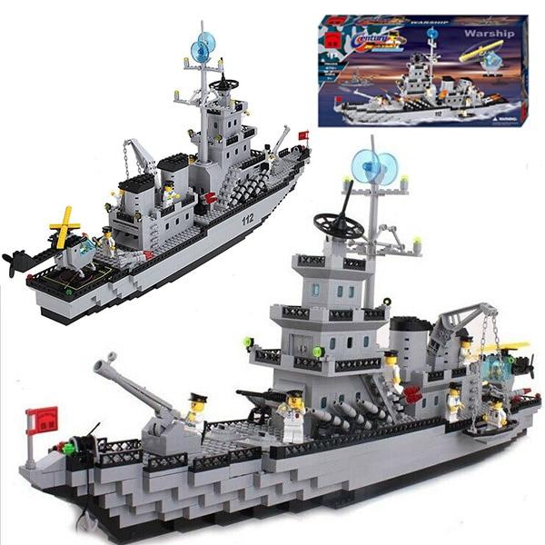 Enlighten 112 Modern Military Cruiser Assembly Aircraft Carrier SWAT Model Bricks Building Block Toys For Gift For Children