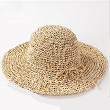 Nueva ala ancha Floppy rafia Fold Sol sombrero sombreros de verano para las  mujeres puerta Sol protección sombrero de paja Playa. 31d2d76f612