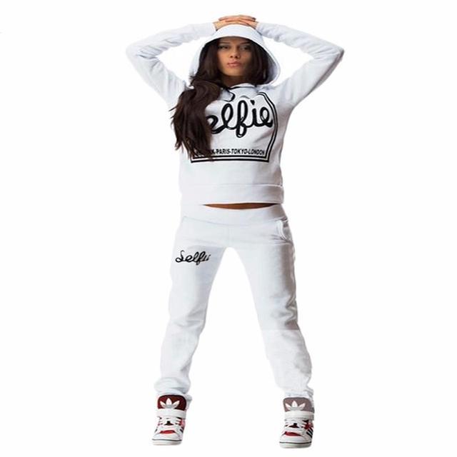 Mulher Treino Hoodies Camisolas de Manga Longa de Inverno Ternos Esportivos Mulheres Carta Impressão Calças
