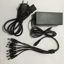 DVR 8 Split Power Cable +DC 12V 5A Power Supply Adapter for CCTV Security Camera