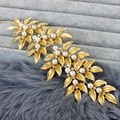 New brand gold leaves flower rhinestone pearl head bands women vintage baroque tiaras wedding bridal hair accessories jewelry