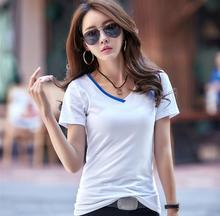 Summer fashion short sleeve t-shirt women plus size female cotton top tees v-neck white striped clothing casual ladies t shirts