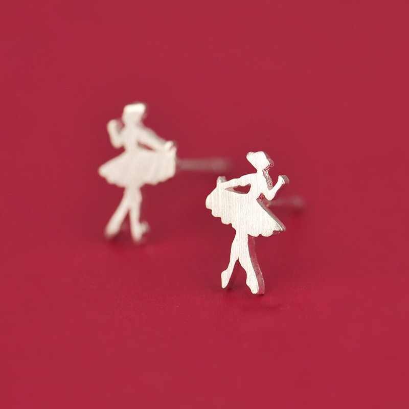 TenJshunzhu 925 Sterling Silver Women's Fashion Cute Tiny Ballet Dancer Stud Earrings For School Girls Daughter's Gift eh419