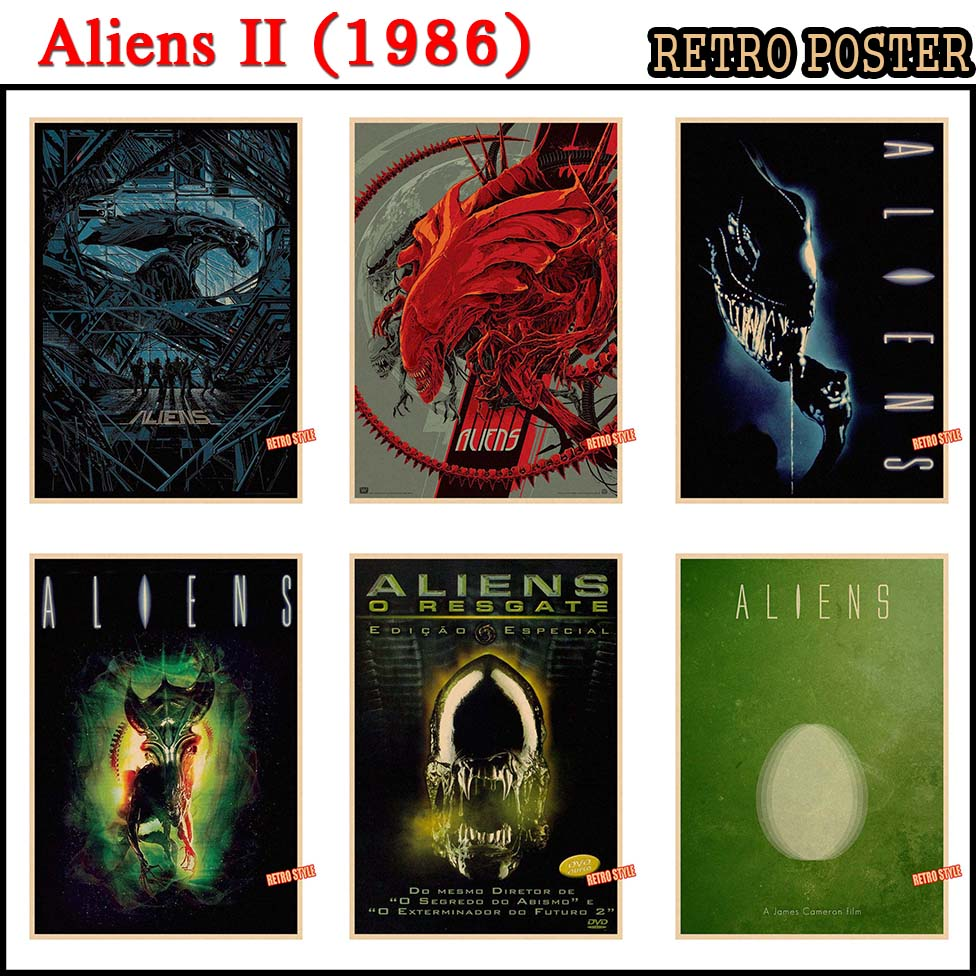 Vintage Poster Science Fiction Horror Fantasy Aliens II(1986) Movie home decorative painting Poster retro poster