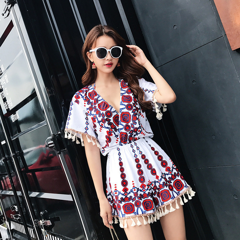 Short Sleeves Cover Up Tassel Swimwear Women 2017 Swimsuit Beachwear Push Up Bathing Suit Swim Wear Halter Neck Swimming Suits