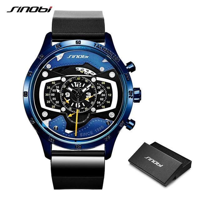 Relojes Hombre 2019 SINOBI автомобиля творческий для мужчин часы s Мода скорость гонки спортивный хронограф Силиконовые кварцевые наручные часы