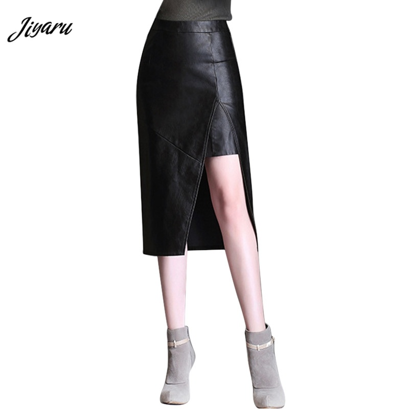 2018 Hot Sale Women's High Waist Leather Skirts Women Hip Skirts Girls Female Sexy Chic Half Length Pencil Skirts