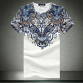 New 2017 Mens Short Sleeve T Shirts Abstract Style Print Casual Slim Fit Cotton T-Shirts Tees Top Quality Plus Size:M-5XL C305