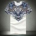 Nuevo 2017 Para Hombre de Manga Corta Camisetas de Estilo Abstracto de Impresión Casual Slim Fit Camisetas de Algodón Camisetas de Alta Calidad Más Tamaño: M-5XL C305