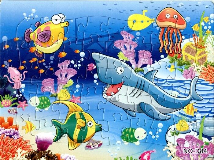 8 шт./компл. 40 шт. мультика Мирового океана пазл черепашка Акула дельфины морские животные головоломки игрушка
