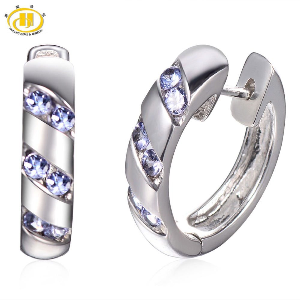 Hutang Natural Tanzanite Earrings for Women Fine Maxi Hoop Earring Sterling Silver 925 Diamond Jewelry Fashion Earing Bijoux personality women creole earrings fashion jewelry silver small circle hoop earing set of 9 pairs bijoux statement hoop earrings
