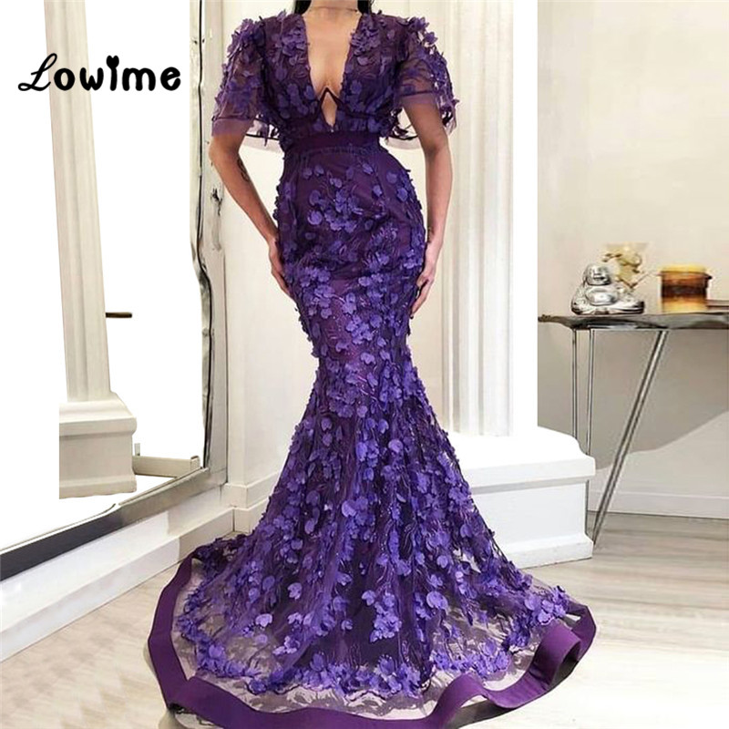 Purple Flower Mermaid   Evening     Dresses   V Neck With Short Sleeves Wedding Party   Dress   2019 Couture Long Prom   Dresses   Formal Gowns
