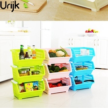 Urijk 1Pc Storage Holder In kitchen Vegetable Holder Corner Storage Basket For Fruit Food Plastic Storage Kitchen Supplies